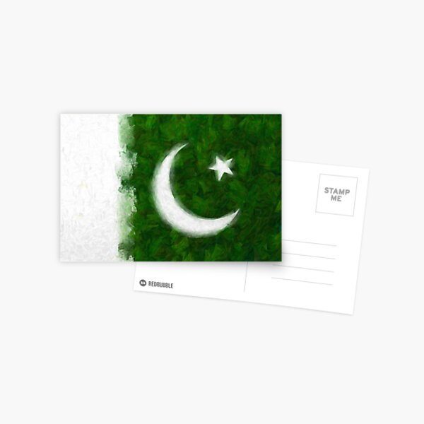 Artistic Rendition of Flag of Pakistan Postcard