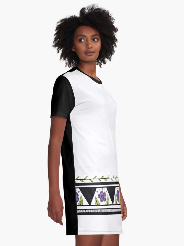 Alternate view of Flower Stripe Graphic T-Shirt Dress
