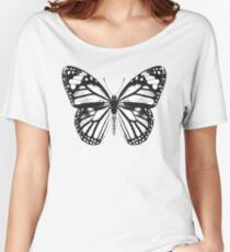 Monarch Butterfly | Black and White Women's Relaxed Fit T-Shirt