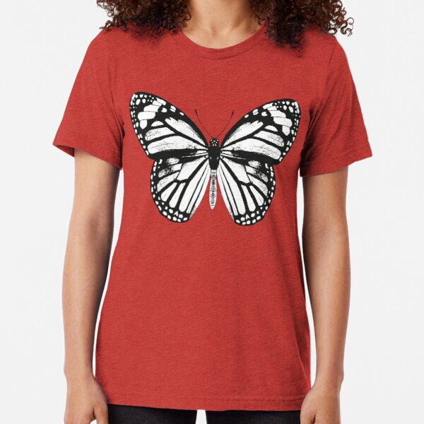 Monarch Butterfly | Vintage Butterflies | Black and White |  Tri-blend T-Shirt