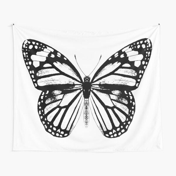 Monarch Butterfly | Vintage Butterflies | Black and White |  Tapestry