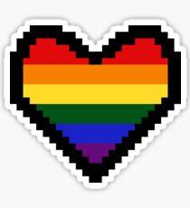 Gay Pride Flag Pixel Heart Sticker