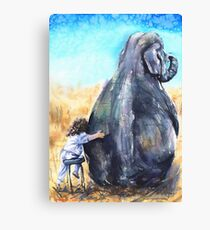 Friends. Elephant and Girl Canvas Print