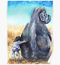 Friends. Elephant and Girl Poster
