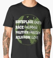 Birthplace Earth Race Human Women Rights Equality Liberal Spiritual  Men's Premium T-Shirt