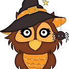Cute Halloween Owl in Witchy Hat by artgoddess