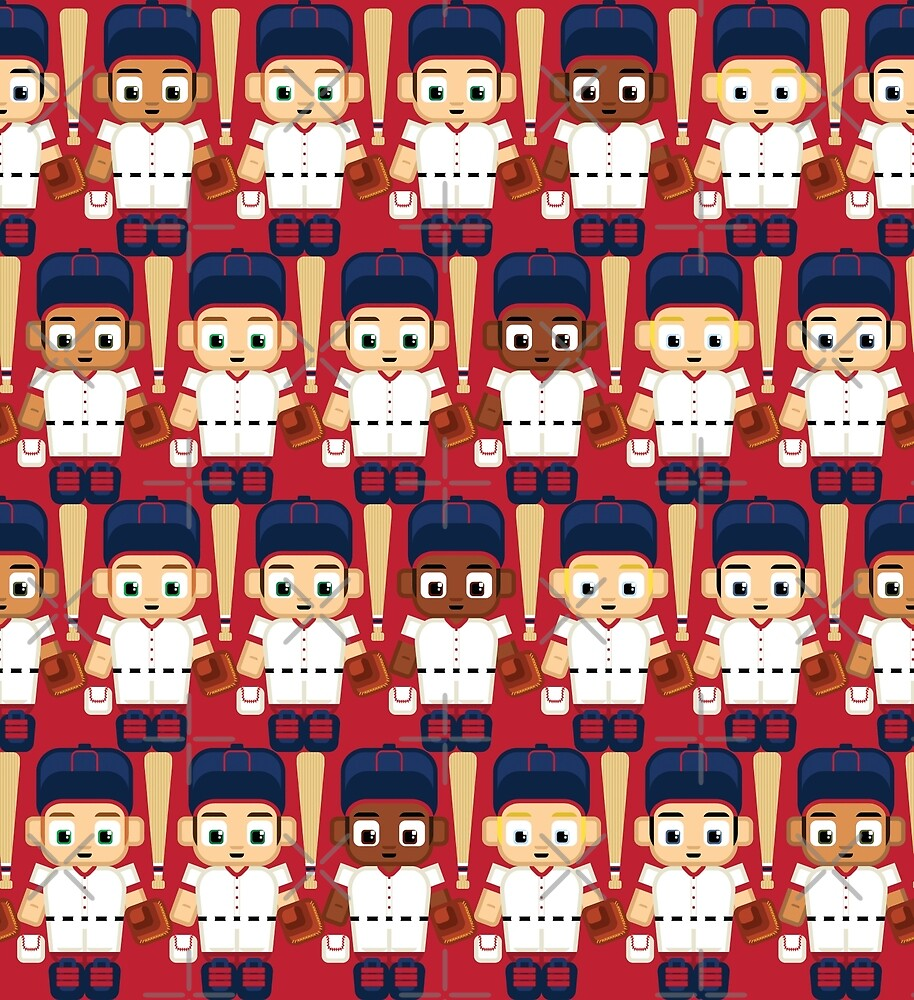 Baseball Red, White and Blue - Super cute sports stars by boxedspaper