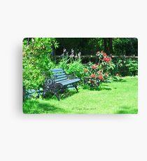 Peaceful Garden Bench Canvas Print