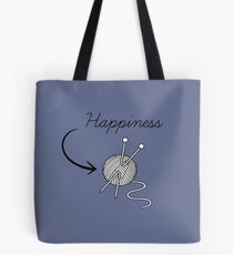 """Happiness"" knitting t-shirt for knitters who knit Tote Bag"