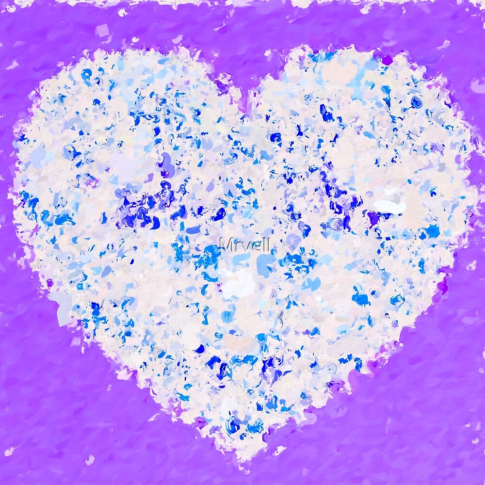 blue and white heart shape with purple background by Mrvell