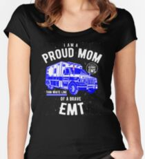 Proud Mom Of A Brave EMT Women's Fitted Scoop T-Shirt