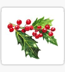 Holly Branch, Green Leaves and Red Berries Sticker