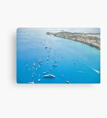 View of Island and Boats Canvas Print