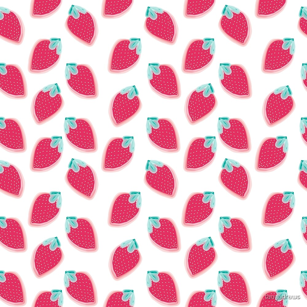 Cute Strawberry Fruit Pattern by tanyadraws