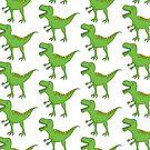 Cute Green T-Rex Dinosaur by artgoddess