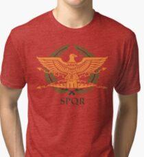 SPQR-White Tri-blend T-Shirt