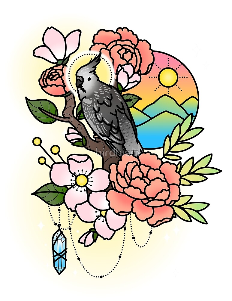 White-faced Cockatiel Tattoo-style by birdhism