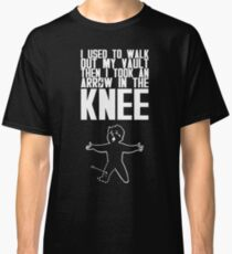 Vault Boy - Arrow in the Knee - White - Transparent Background Classic T-Shirt