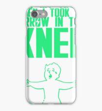 Vault Boy - Arrow in the Knee - Green - Transparent Background iPhone Case/Skin