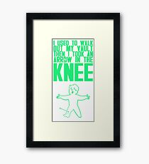 Vault Boy - Arrow in the Knee - Green - Transparent Background Framed Print