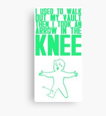 Vault Boy - Arrow in the Knee - Green - Transparent Background Canvas Print
