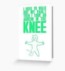 Vault Boy - Arrow in the Knee - Green - Transparent Background Greeting Card