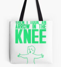 Vault Boy - Arrow in the Knee - Green - Transparent Background Tote Bag