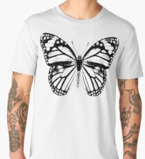 Monarch Butterfly Pattern | Black and White Men's Premium T-Shirt