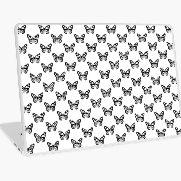 Monarch Butterfly Pattern | Monarch Butterfly | Vintage Butterflies | Butterfly Patterns | Black and White |  Laptop Skin