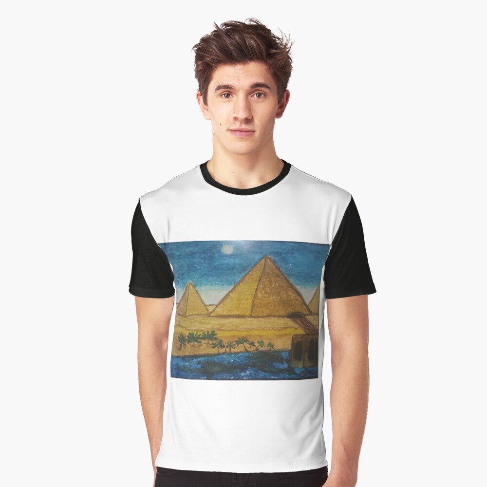 Ancient Giza Pyramids in Egypt Nile River Desert  Graphic T-Shirt Front