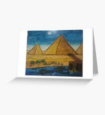 Ancient Giza Pyramids in Egypt Nile River Desert  Greeting Card