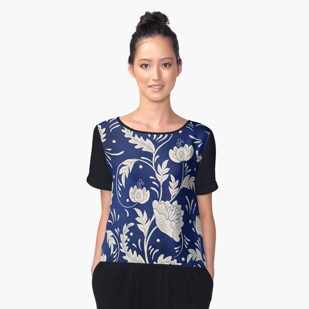 Retro Vintage Russian Flower Pattern Women's Chiffon Top Front