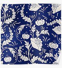 Retro Vintage Russian Flower Pattern Poster
