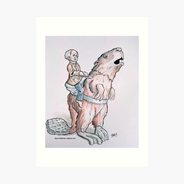 Sir Wilfred Laurier riding Beaverback (without Title) Art Print