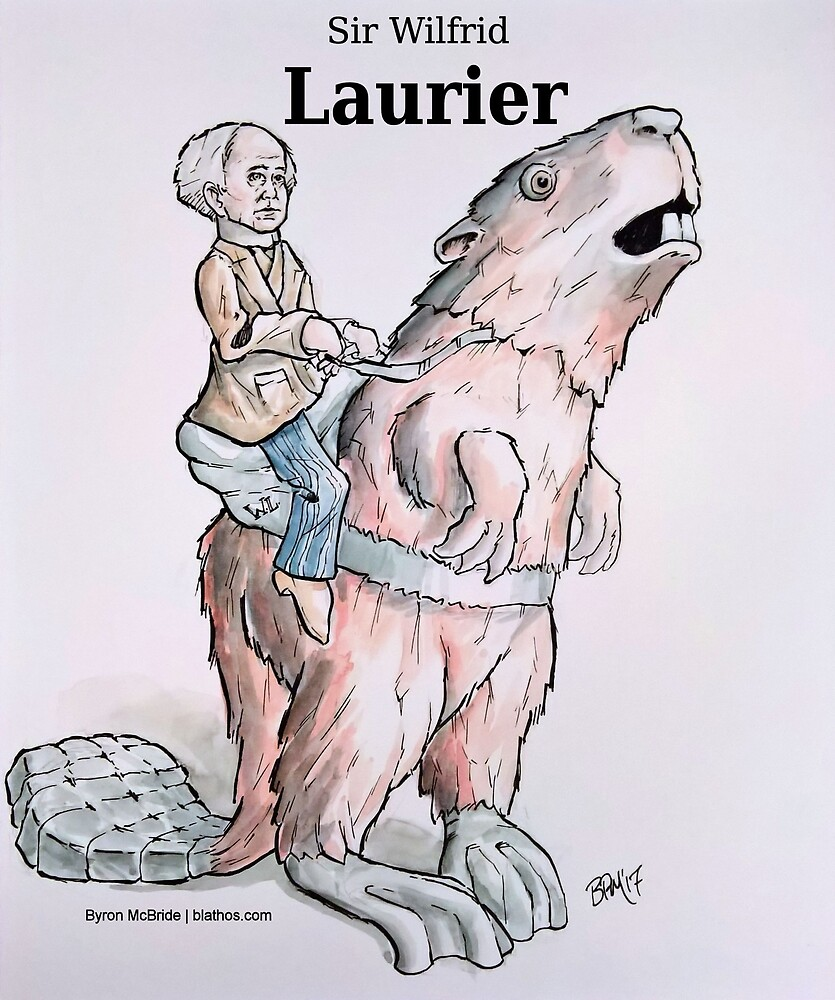 Sir Wilfrid Laurier riding Beaverback (with Title!) by Byron  McBride
