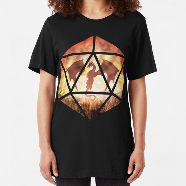 Fire Dragon D20 Slim Fit T-Shirt