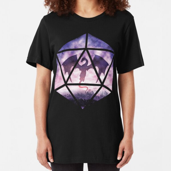 Purple Sky Dragon D20 Slim Fit T-Shirt