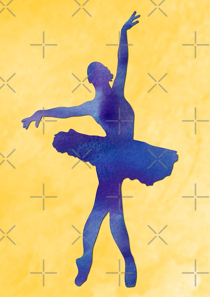 Watercolor dancer in yellow and blue AP116 by DuckyRubin