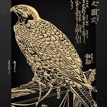 Golden Japanese Peregrine Falcon on Black Canvas  by Captain7