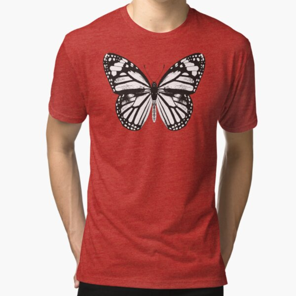 Monarch Butterfly Pattern | Monarch Butterfly | Vintage Butterflies | Butterfly Patterns | Black and White |  Tri-blend T-Shirt