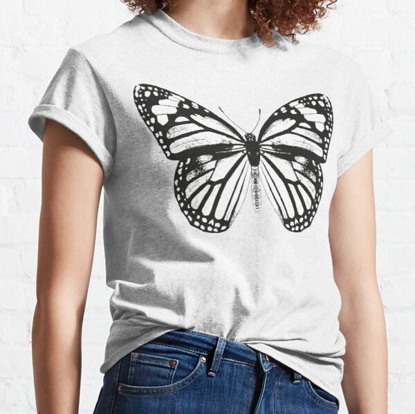 Monarch Butterfly Pattern   Monarch Butterfly   Vintage Butterflies   Butterfly Patterns   Black and White    Classic T-Shirt