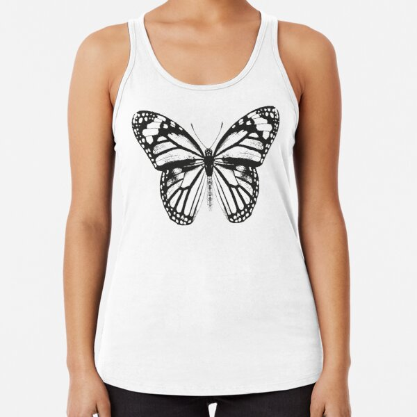 Monarch Butterfly Pattern | Monarch Butterfly | Vintage Butterflies | Butterfly Patterns | Black and White |  Racerback Tank Top