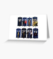 The 14 Doctors and Tardises Greeting Card