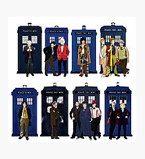 The 14 Doctors and Tardises Photographic Print