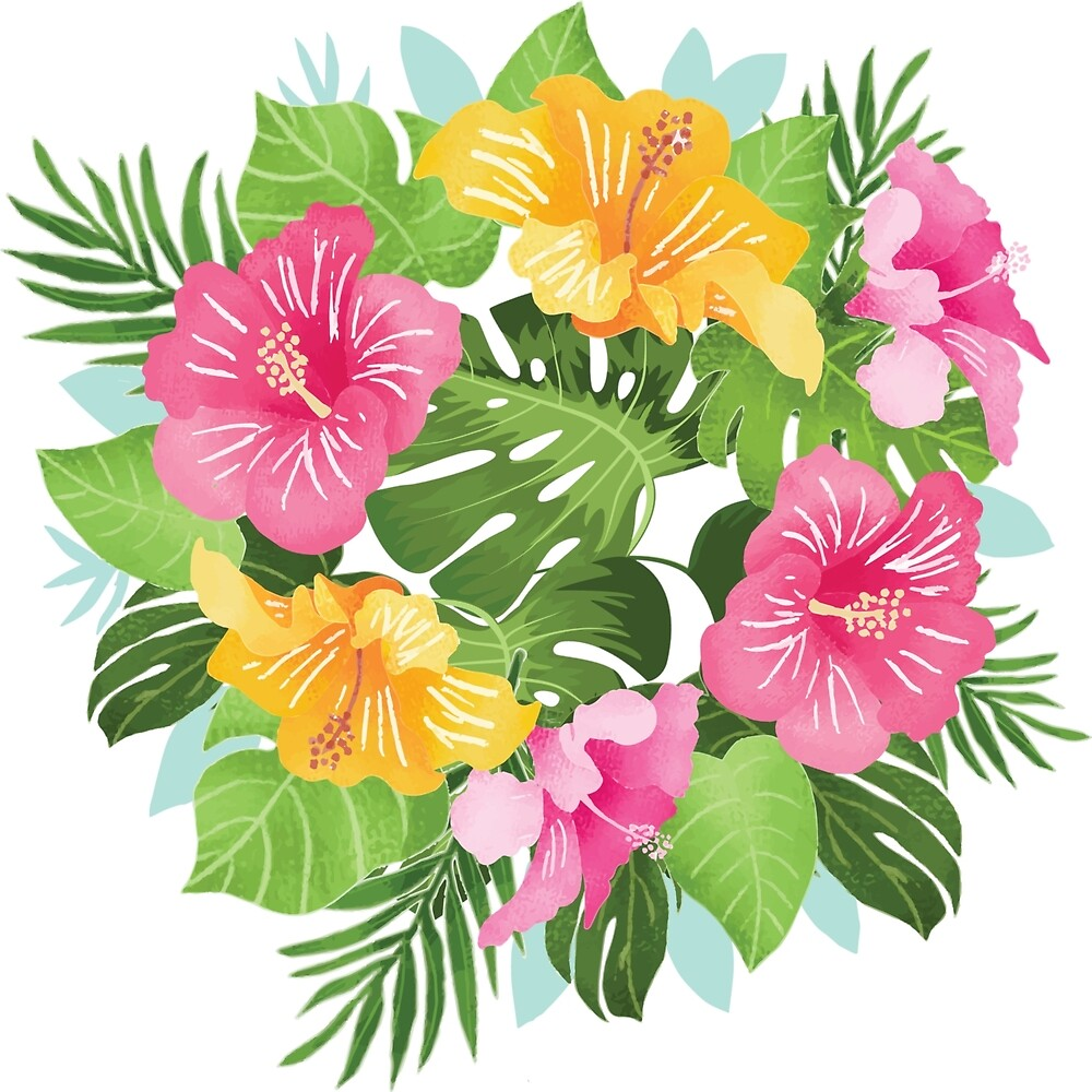 Pink Yellow Aloha Tropical Leaves & Flowers by Vicky Brago-Mitchell
