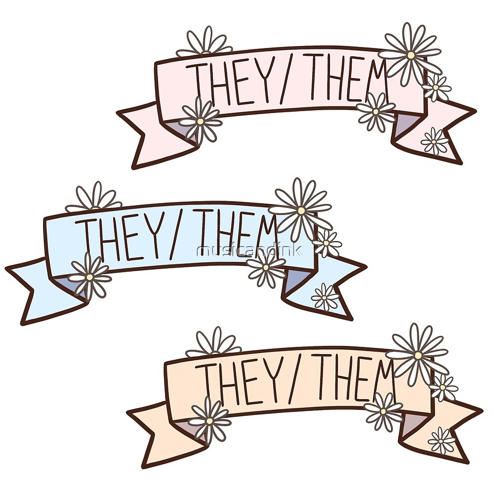 They/Them Pronoun Banner Sticker Set by musicandink