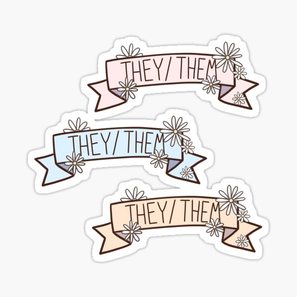 They/Them Pronoun Banner Sticker Set Sticker