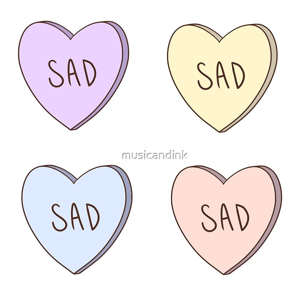Sad Candy Hearts Sticker Set by musicandink
