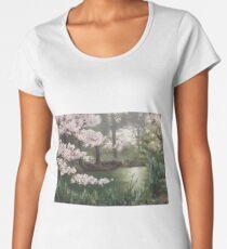 Cherry Blossoms by the Lake  Women's Premium T-Shirt