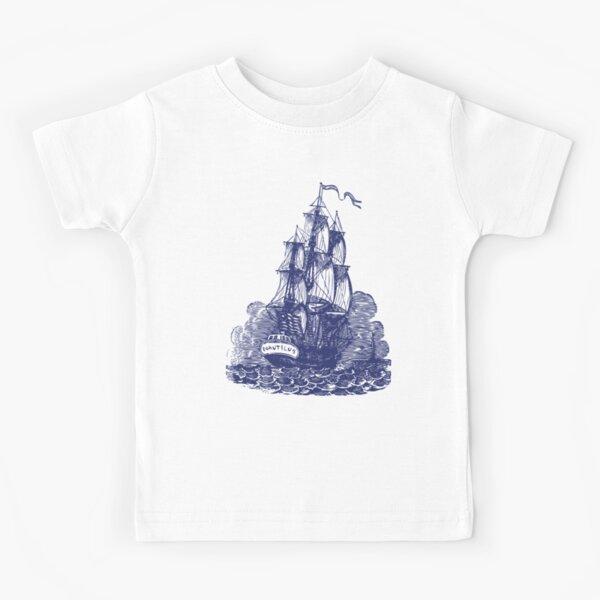 Sailing Ship | Schooner | Navy Blue and White | Vintage Sailing Ship | Nautical |  Kids T-Shirt